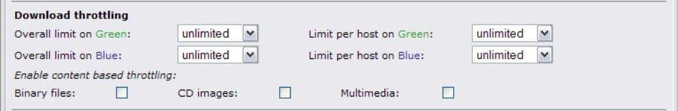 limited in general, per host and depending on the content. Note: Download throttling works on a