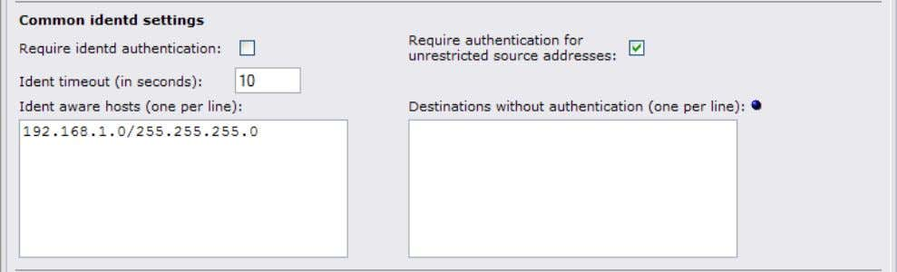 1.4 Administrator's Guide 5.4.2 Common identd settings Require identd authentication By default, identd