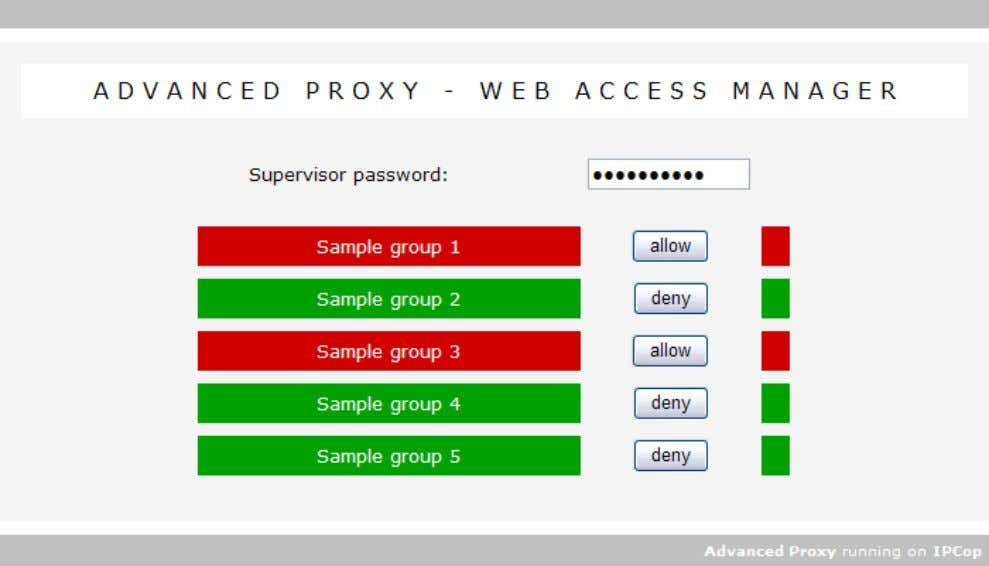 password before they can change access for certain groups. Note: The password must be entered again