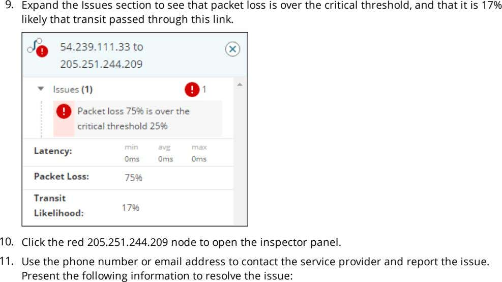 9. Expand the Issues section to see that packet loss is over the critical threshold,