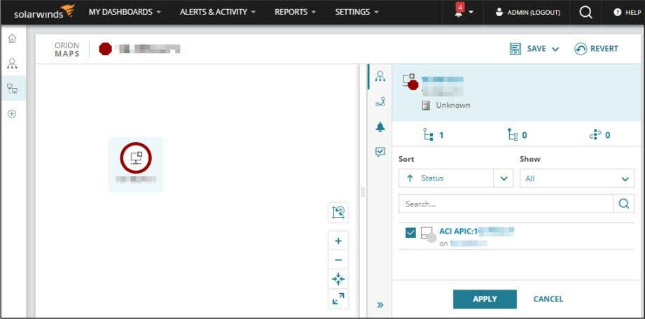 2. In the Inspector panel on the left, select the ACI APIC for the node and