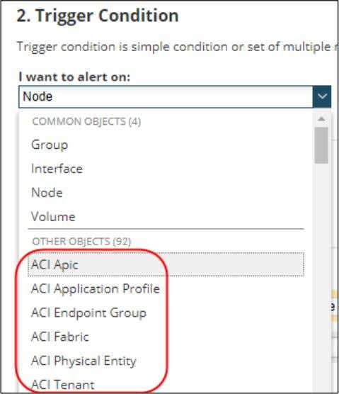 want to be alerted about. In this case, select ACI Tenant. 4. In the actual trigger