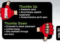 Thumbs up • awesome value • Surprisingly capable suspension • comprehensive parts spec Thumbs down