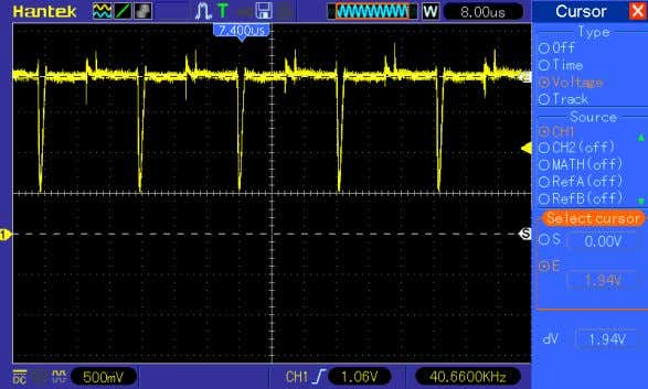 check with the oscilloscope gave the picture as in figure 4. Figure 4, Vref pin signal