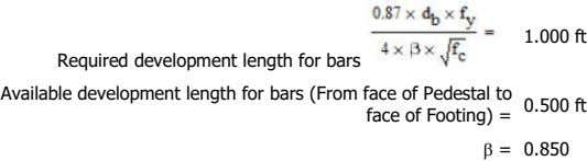 1.000 ft Required development length for bars Available development length for bars (From face of