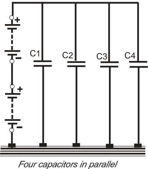 + C1 C2 C3 C4 + Four capacitors in parallel