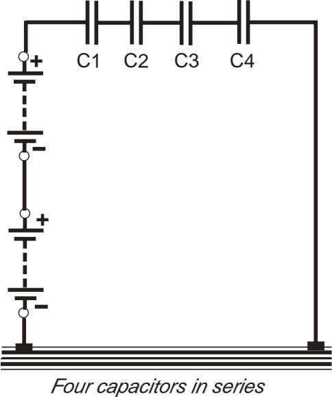 + C1 C2 C3 C4 + Four capacitors in series