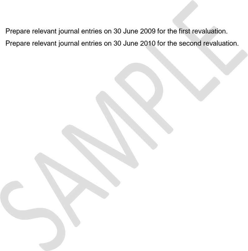 Prepare relevant journal entries on 30 June 2009 for the first revaluation. Prepare relevant journal