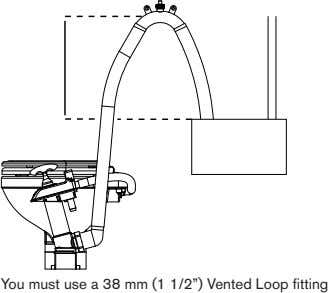 "You must use a 38 mm (1 1/2"") Vented Loop fitting"