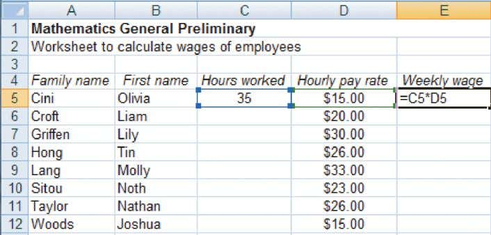 salary from 1 January? 22 Create the spreadsheet below. 1A a Cell E5 has a formula