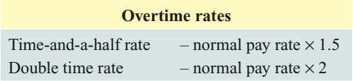 Overtime rates Time-and-a-half rate – normal pay rate × 1.5 Double time rate – normal