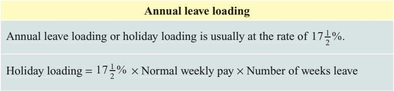 Annual leave loading 1 Annual leave loading or holiday loading is usually at the rate