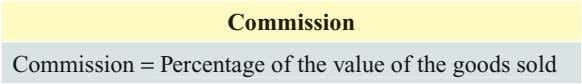 Commission Commission = Percentage of the value of the goods sold
