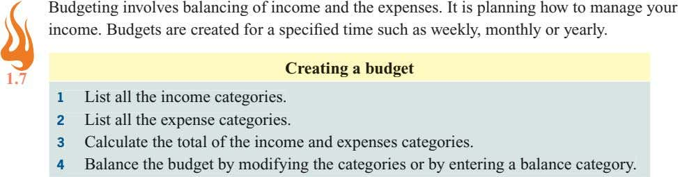 Budgeting involves balancing of income and the expenses. It is planning how to manage your