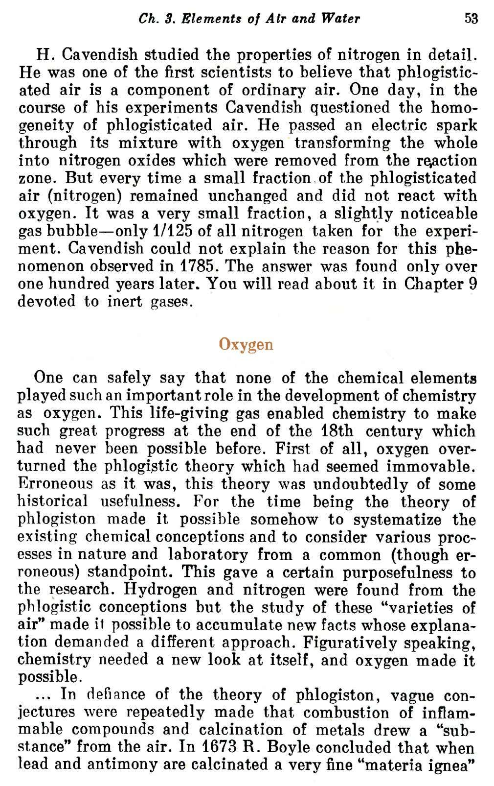 Ch. 3. Elements of Air and Water 53 H. Cavendish studied the properties of nitrogen in