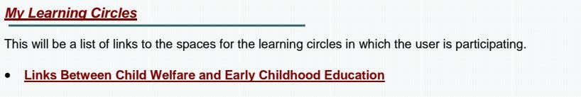 My Learning Circles This will be a list of links to the spaces for the
