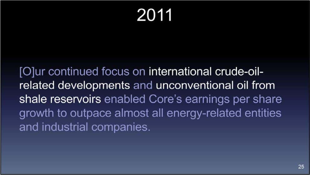 "At the end of 2011 when shale was the market darling, Core's ""continued"" international crude oil"