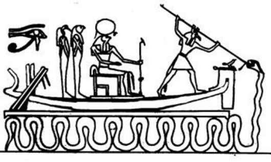 "referred to as ""chaos"" by Western Egyptologists. Apep Above: Set protecting the boat of Ra from"