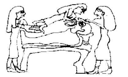 Figure 8: Drawing found in an Ancient Egyptian Building of The Conception of Heru [