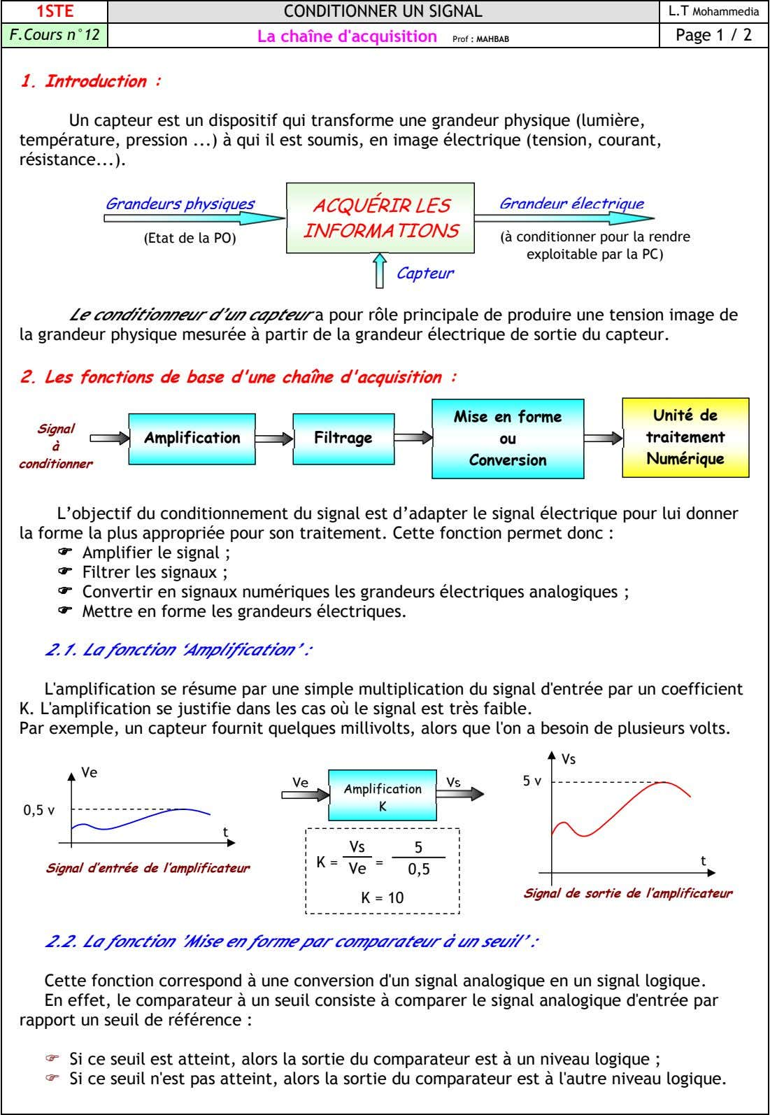 1STE CONDITIONNER UN SIGNAL L.T Mohammedia F.Cours n°12 La chaîne d'acquisition Page 1 / 2