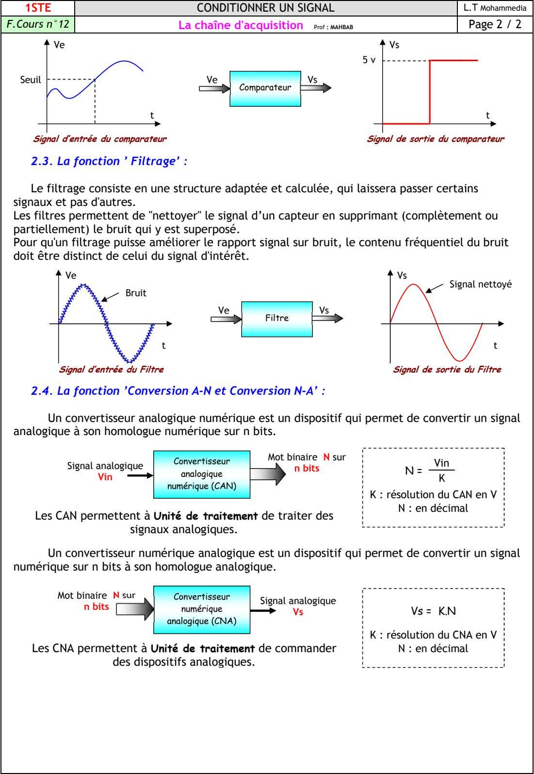1STE CONDITIONNER UN SIGNAL L.T Mohammedia F.Cours n°12 La chaîne d'acquisition Page 2 / 2