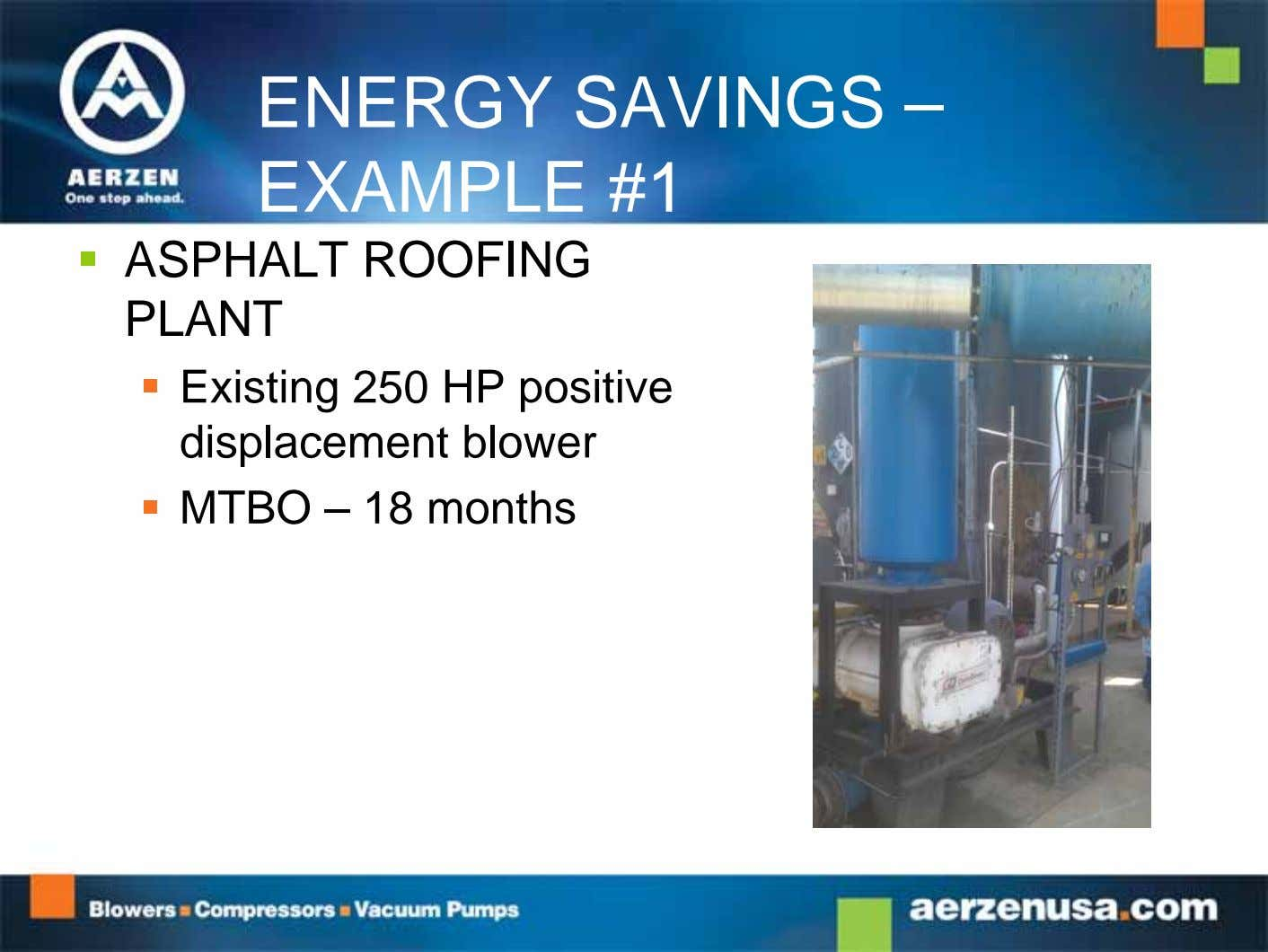 ENERGY SAVINGS – EXAMPLE #1  ASPHALT ROOFING PLANT  Existing 250 HP positive displacement