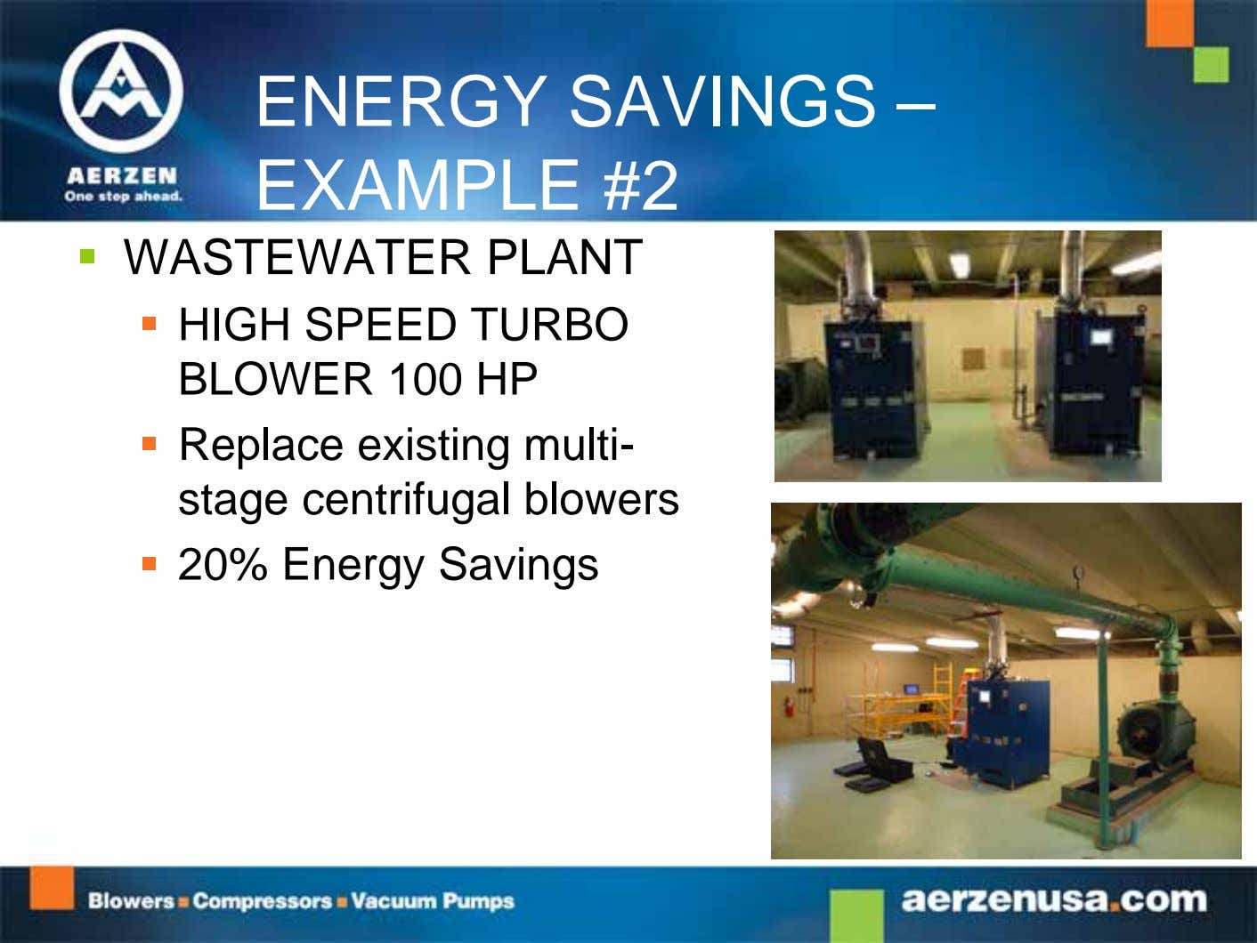 ENERGY SAVINGS – EXAMPLE #2  WASTEWATER PLANT  HIGH SPEED TURBO BLOWER 100 HP