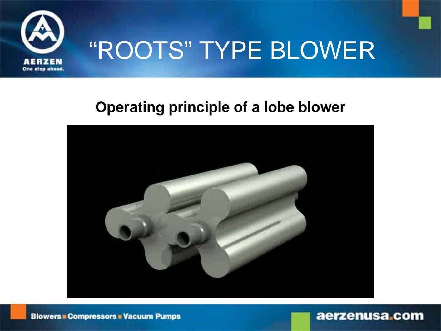 """ROOTS"" TYPE BLOWER Operating principle of a lobe blower"