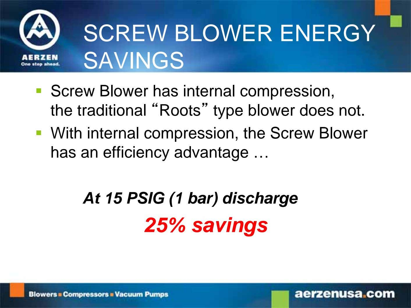 "SCREW BLOWER ENERGY SAVINGS  Screw Blower has internal compression, the traditional ""Roots"" type blower"