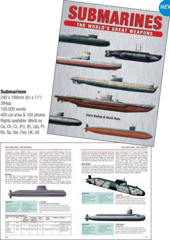 "Submarines 240 x 189mm (9 1 ⁄2 x 7 1 ⁄2"") 384pp 100,000 words 400"
