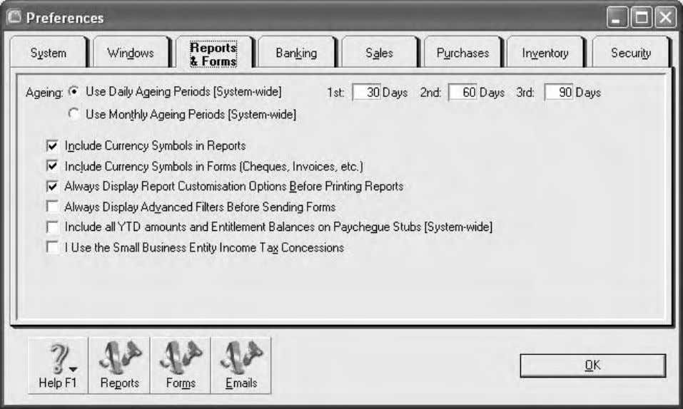 Computer accounting using MYOB business software Figure 1.10: System preferences Self-test exercise 1.4 Open the file