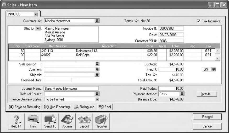 Computer accounting using MYOB business software Figure 1.22: A new sale invoice for items sold on
