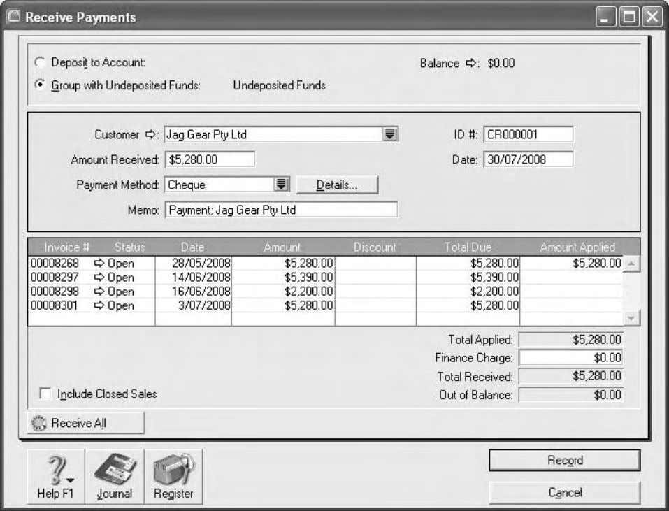 Computer accounting using MYOB business software Figure 1.24: Payment received from a customer 10. If your