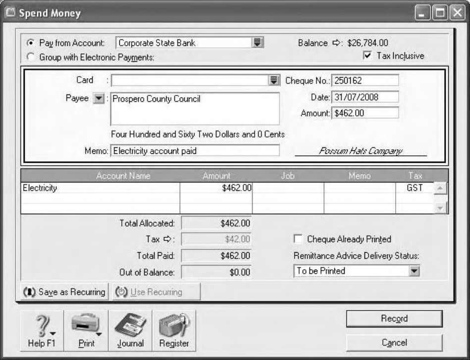 Chapter 1: Introduction to MYOB Accounting Plus Figure 1.27: Cheque used to pay electricity account How