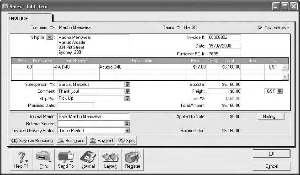 Computer accounting using MYOB business software 1.4 The answer is already shown in Figure 1.11. 1.5
