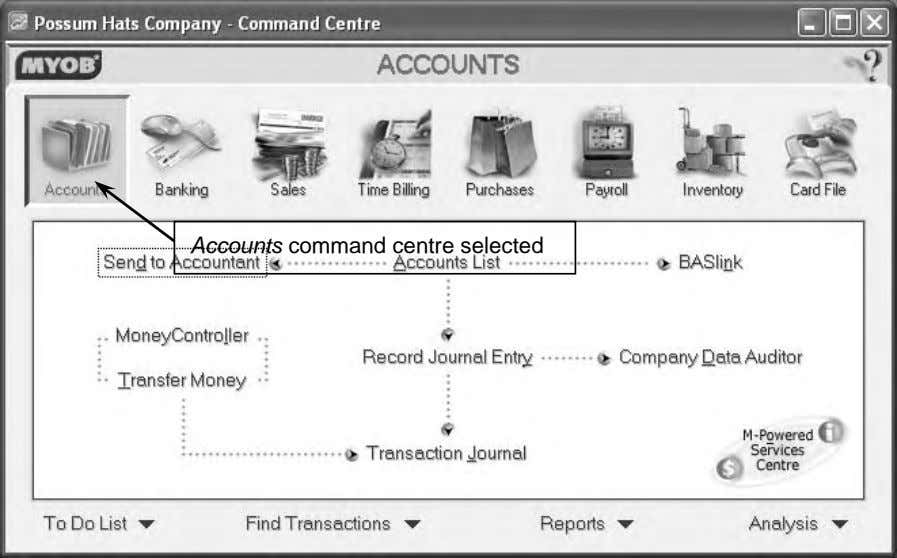 Accounts command centre selected
