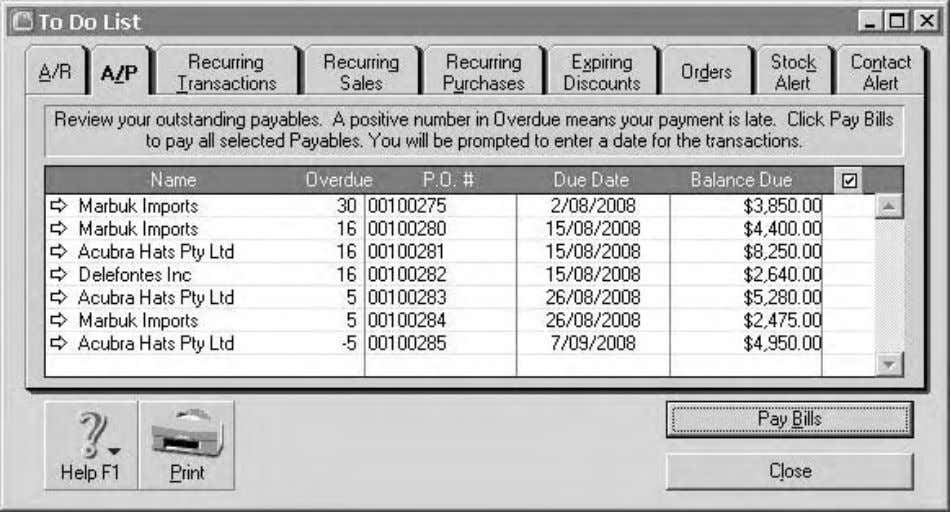 Chapter 1: Introduction to MYOB Accounting Plus Figure 1.2: An example of a To Do List