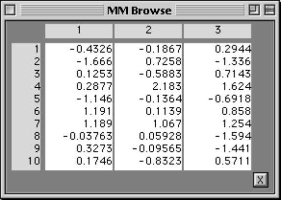 the window shown below. » d = randn(10,3); » mmbrowse(d) When the data array is too