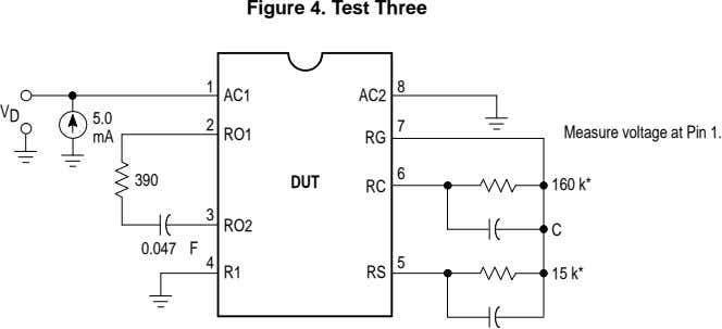 Figure 4. Test Three 8 1 AC1 AC2 V D 5.0 7 Measure voltage at