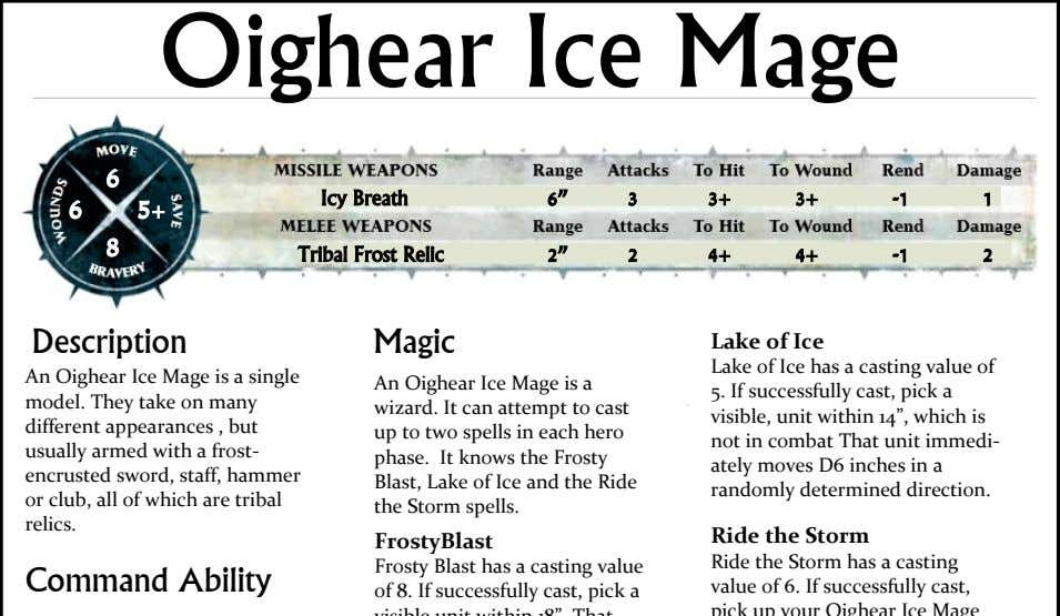 "Oighear Ice Mage 6 Icy Breath 6"" 3 3+ 3+ -1 1 6 5+ 8"