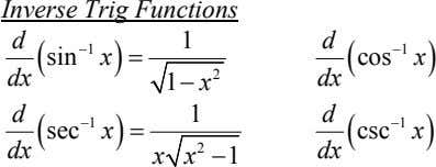 Inverse Trig Functions d 1 d 1 1 sin x cos x dx 2 1
