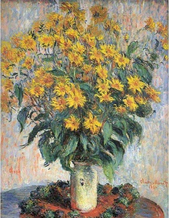 BOUQUET OF JERUSALEM ARTICHOKE FLOWERS by CLAUDE MONET