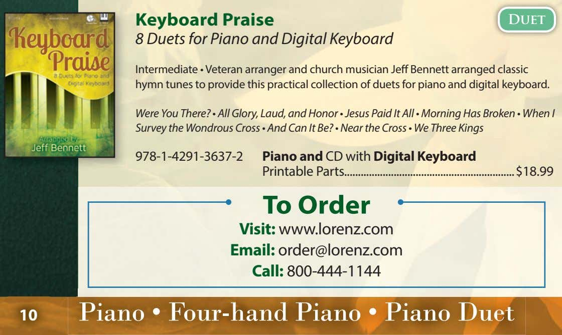 Keyboard Praise Duet 8 Duets for Piano and Digital Keyboard Intermediate • Veteran arranger and