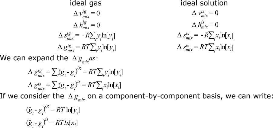 ideal gas ideal solution We can expand the If we consider the on a component-by-component