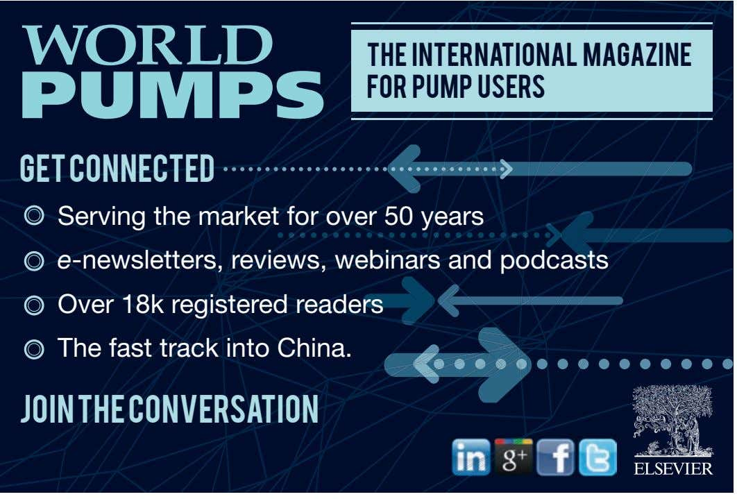 The International Magazine For Pump Users Get Connected Serving the market for over 50 years