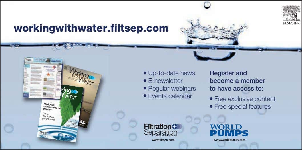 workingwithwater.filtsep.com Working With ater Information solutions managemenWt for water and Volume 2 Issue 2