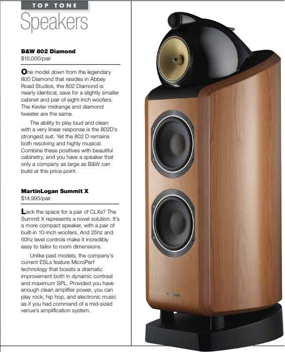 TOP TONE Speakers B&W 802 diamond $15,000/pair One model down from the legendary 800 Diamond