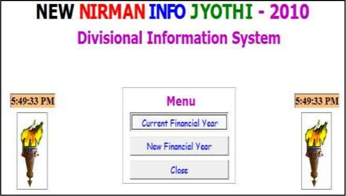 Password and click Enter Select the Current Financial Year Select Division and Financial Year and Click