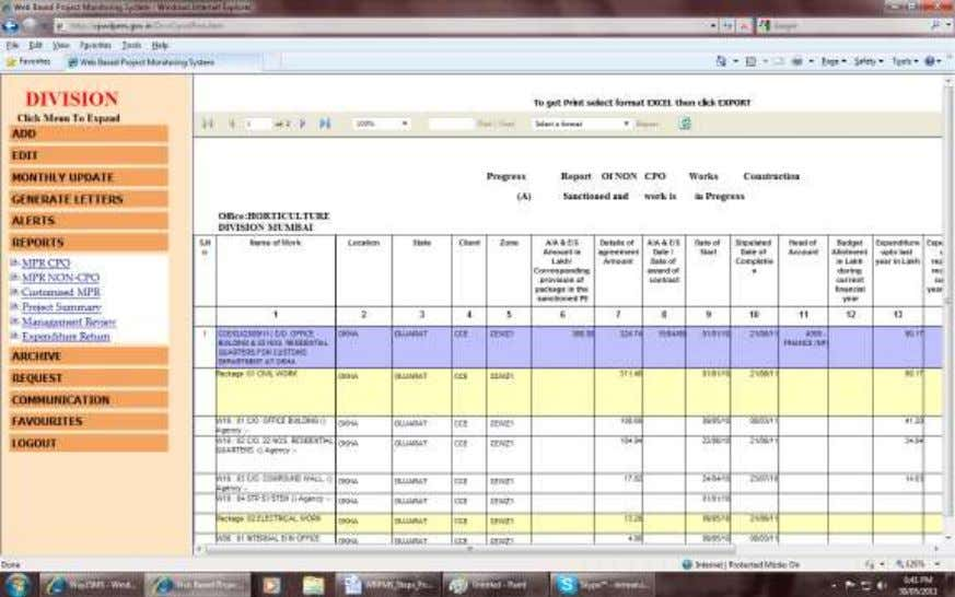 PROJECT MONITORING SYSTEM O/o CE, CDO, CPWD, NEW DELHI Note: In Project Wise Progress Reports you