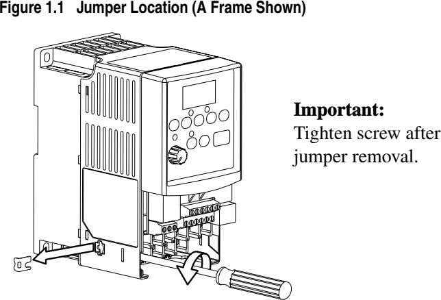 Figure 1.1 Jumper Location (A Frame Shown) Important: Tighten screw after jumper removal.